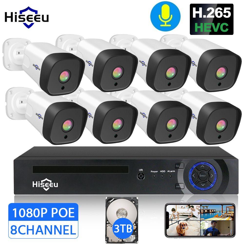 H.265 Audio 8CH 1080 P POE NVR CCTV Security System 4 PCS 2MP Rekord POE IP Kamera IR Outdoor Video überwachung Kit 1 TB HDD