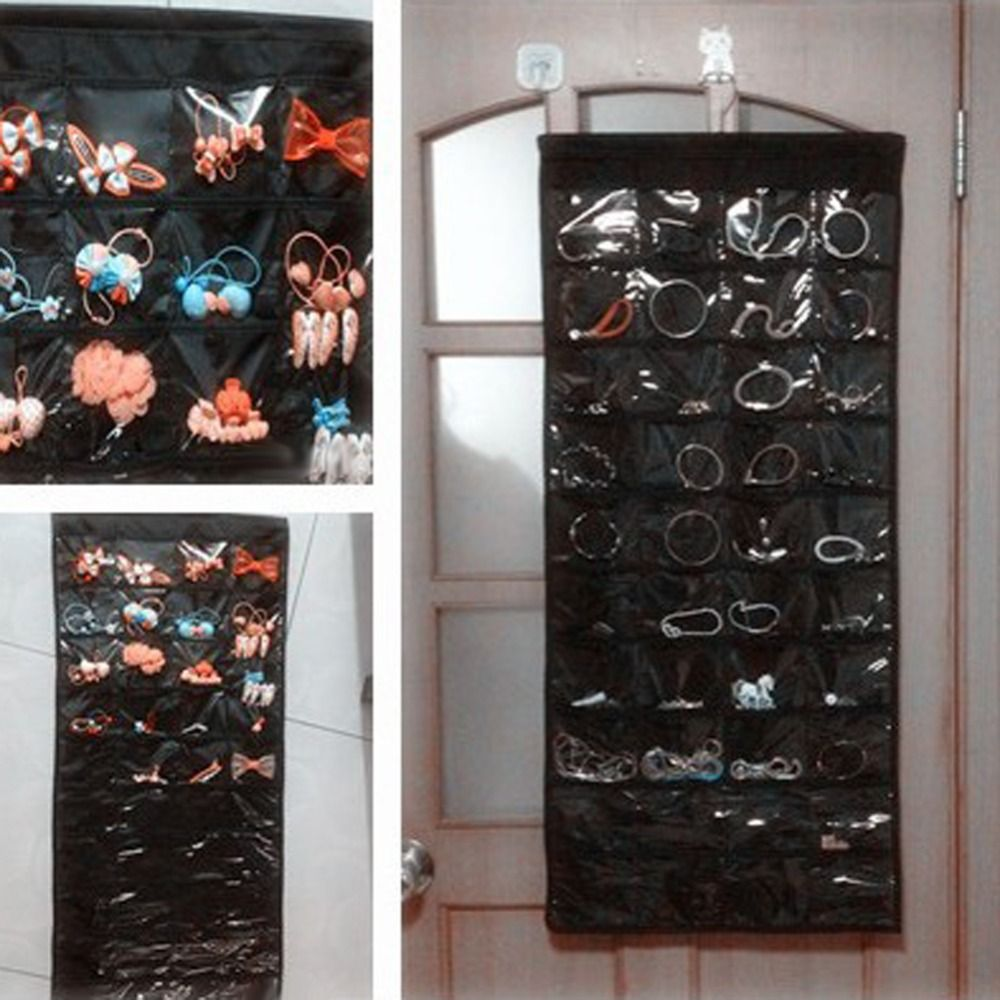 Double-Sided 80 Pockets Hanging Jewelry Organizer Jewelry Display Earring Rings Bracelets Storage Bags Brooch Hanger Organizador