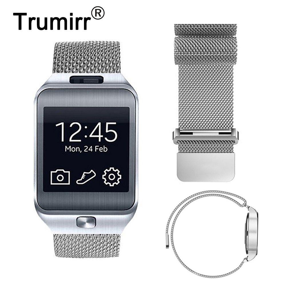 Bracelet de montre en acier inoxydable avec boucle milanaise 22mm Bracelet de fermeture magnétique pour Samsung Gear 2 R380 R381 R382 Moto 360 2 46mm
