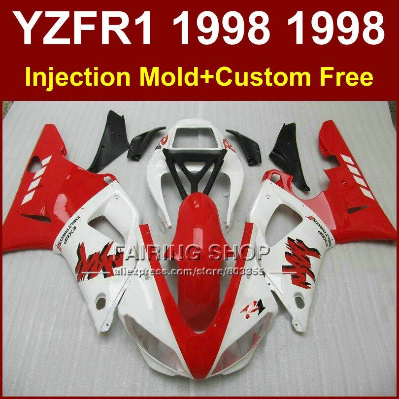 Good red white fairings kit for YAMAHA  YZF R1 YZF1000 98 99 R1 custom fairing set YZF R1 1998 1999 body parts oG7V