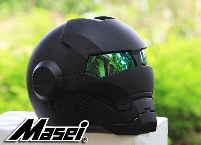 NEW Black MASEI IRONMAN Iron Man helmet motorcycle helmet retro half helmet open face helmet 610 ABS casque motocross