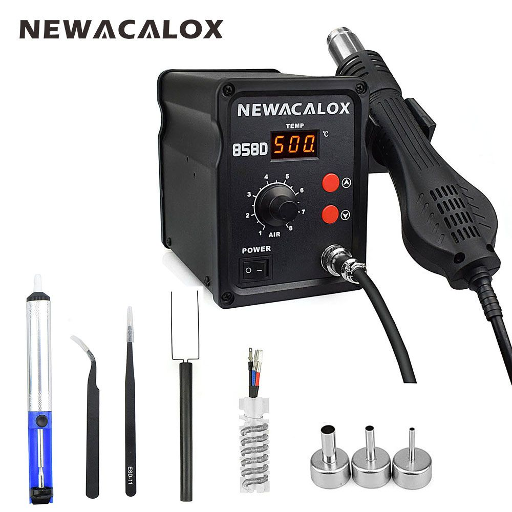 NEWACALOX 858D 700W 220V EU 500 Degree Hot Air Rework Station Thermoregul LED Heat Gun Blow Dryer for BGA IC Desoldering Tool