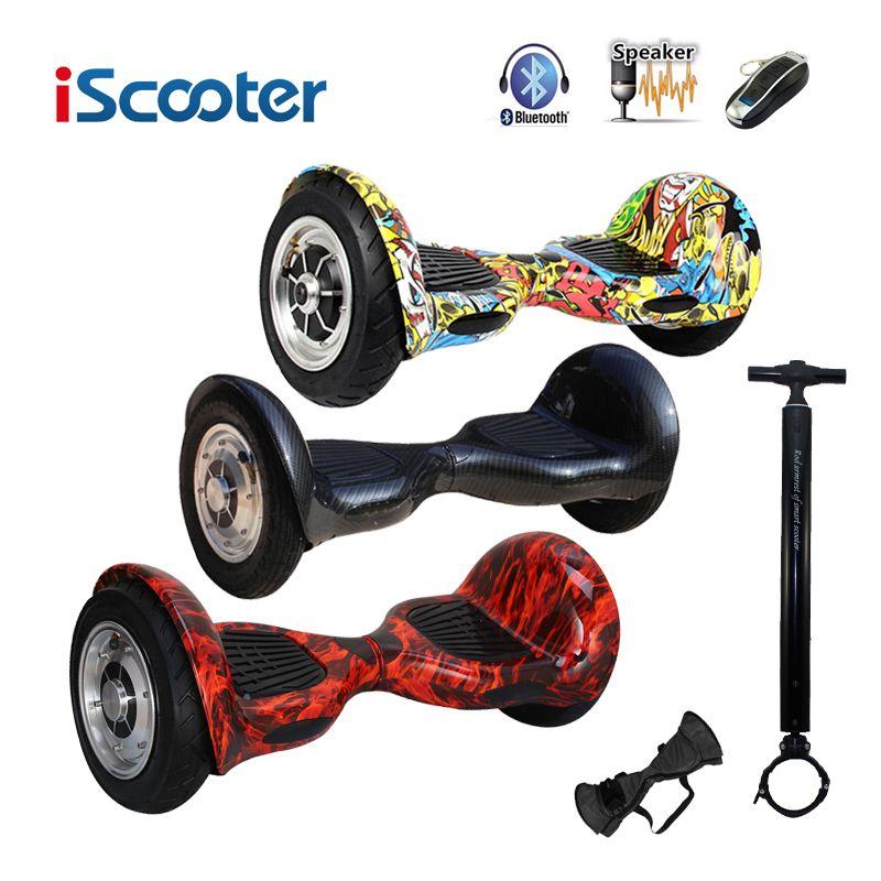 IScooter hoverboard 10 zoll Bluetooth 2 Rad selbstausgleich Elektroroller zwei Smart Rad mit funkschlüssel Und FÜHRTE Skateboard