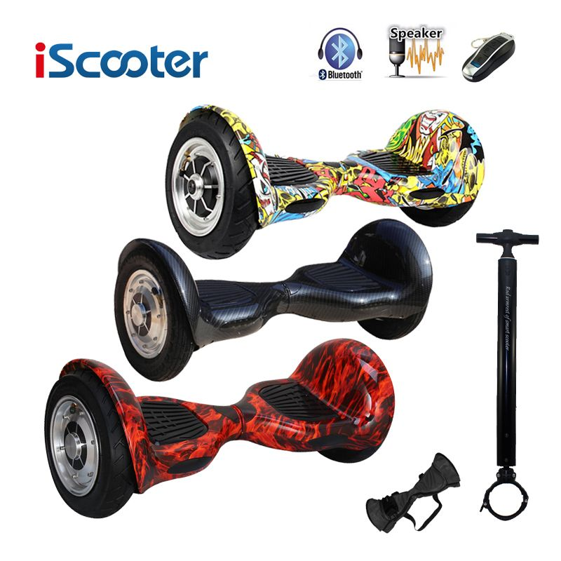 IScooter hoverboard 10 inch Bluetooth 2 Wheel Self balancing Electric Scooter two Smart Wheel with Remote key And LED Skateboard