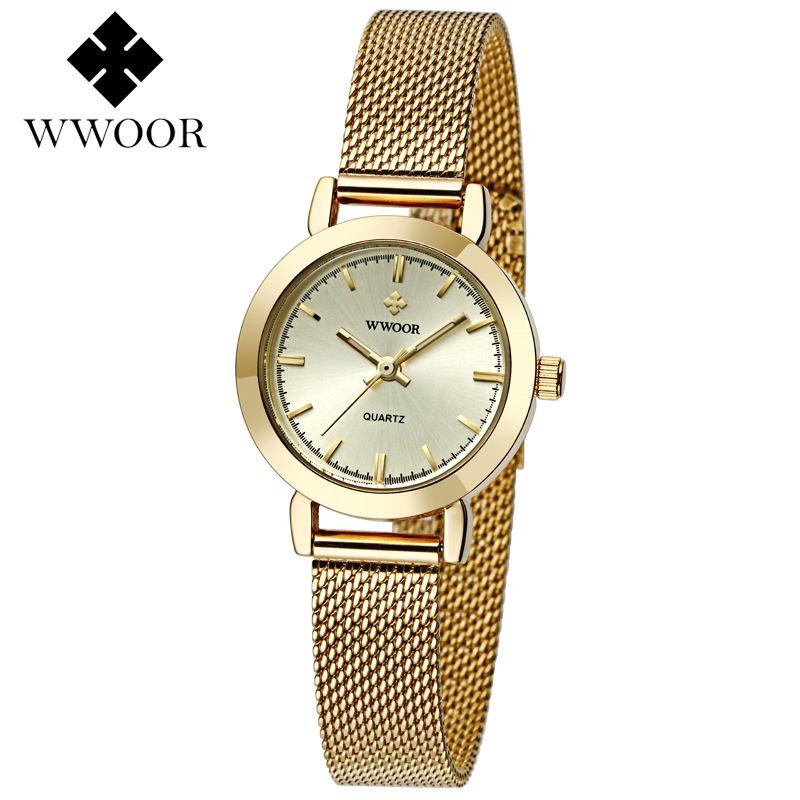 WWOOR Women Watches Top Brand <font><b>Luxury</b></font> Stainless Steel Mesh Band Gold casual Watch Ladies Business quartz watch Relogio Feminino