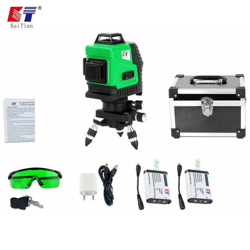 KaiTian 12Lines 3D Laser Levels Self-Leveling 360 Rotary Horizontal 532nm Vertical Cross Green Lasers Beam Line Lazer Level Tool