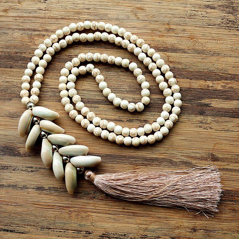 Collier de perles en pierre blanche de 6mm avec collier long fait main en coquillage naturel pour femmes