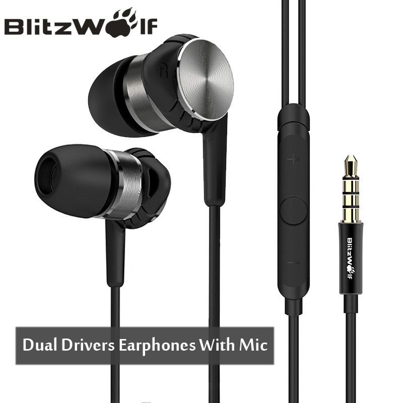 BlitzWolf BW-VOX1 In-ear Ring Iron Noise Cancelling Earphone Earbuds Universal Mobile Phone Earphones With Microphone For iPhone