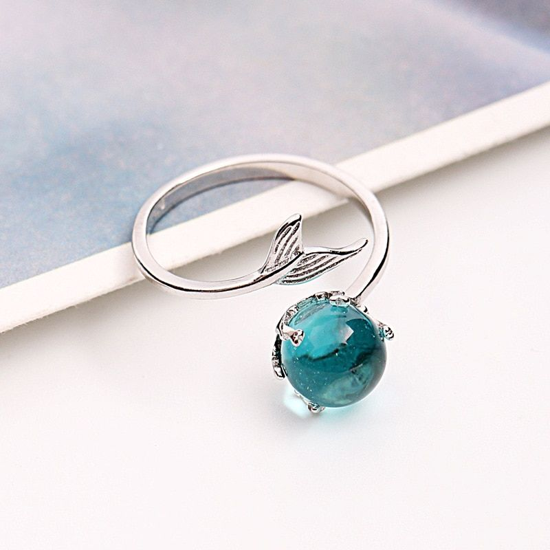 925 Sterling Silver Open Blue Crystal Mermaid Bubble Rings for Women Girls Gift Statement Jewelry Adjustable Size Finger Ring