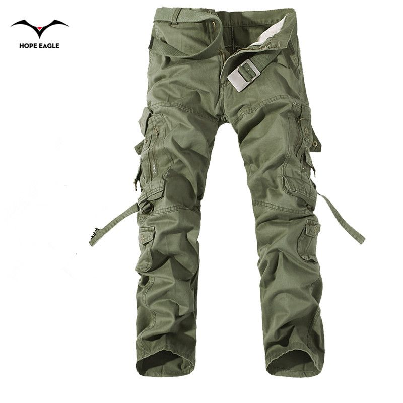 2018 New Men Cargo Pants army <font><b>green</b></font> big pockets decoration mens Casual trousers easy wash male autumn army pants plus size 42