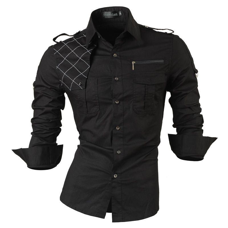 Jeansian hommes à manches longues robe chemises décontractées Slim Fit mode élégant Designer militaire 8371