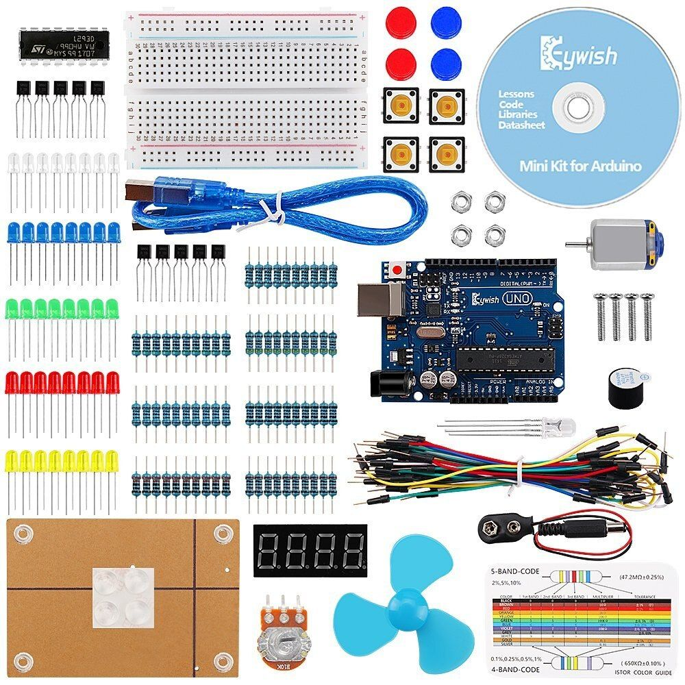 For Arduino, UNO R3 Project Mini Kit with Tutorials & R3 Controller Board,LCD Screen,Resistors Rotary Potentiometer,Resistor