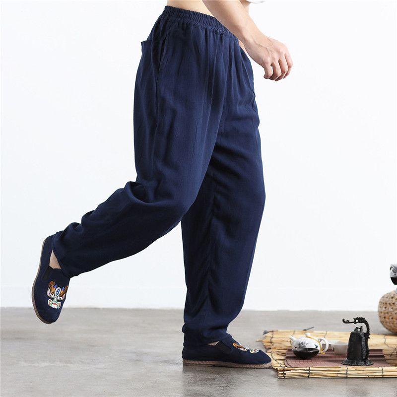 LZJN Elastic Waist Men's Flax Pants Sand Wash Kung Fu Tai Chi Uniform Long Trousers Casual Linen Bloomers Joggers Pantalon Homme