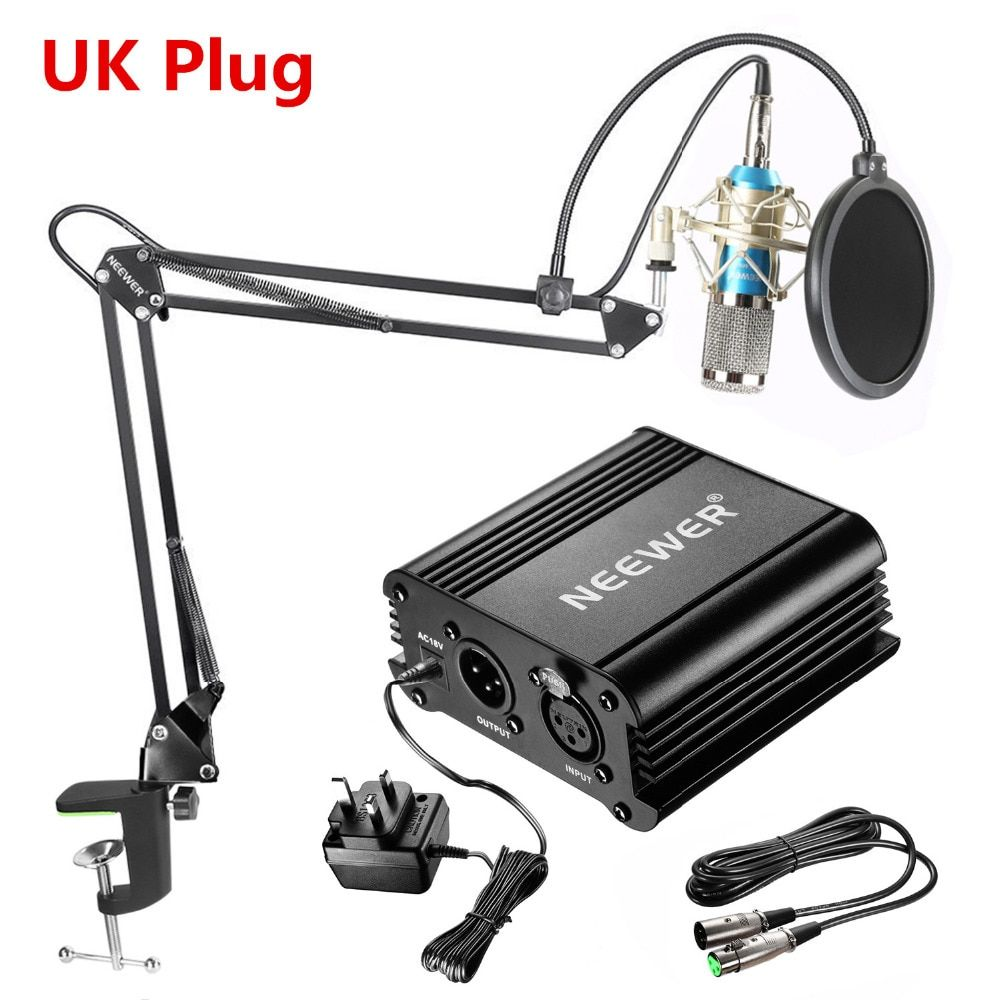 Neewer NW-800 Condenser Microphone Kit:Mic+48V Phantom Power Supply+NW-35 Boom Scissor Arm Stand with Shock Mount+Cable