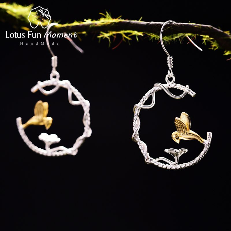 Lotus Fun Moment Real 925 Sterling Silver Creative Handmade Fashion Jewelry Perfect Lovely Bird Drop Earrings for Women Brincos
