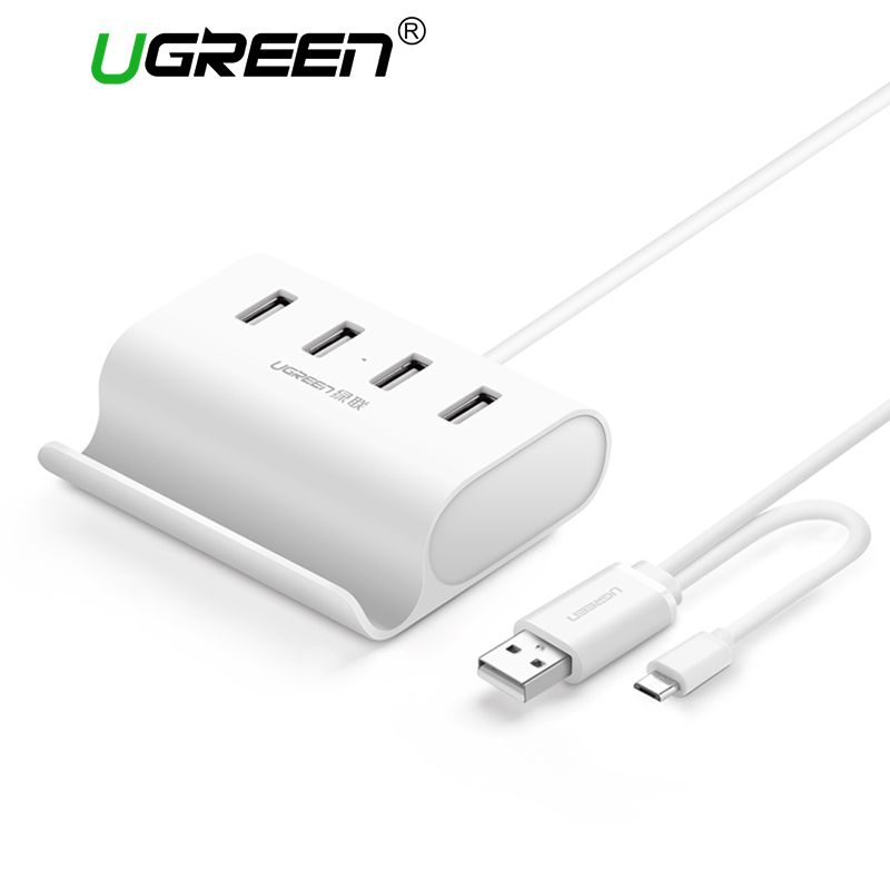 Ugreen USB hub 4 puertos USB 2.0 de alta velocidad OTG Hub con soporte de alimentación del interfaz micro USB Splitter para ordenador portátil OTG Hub