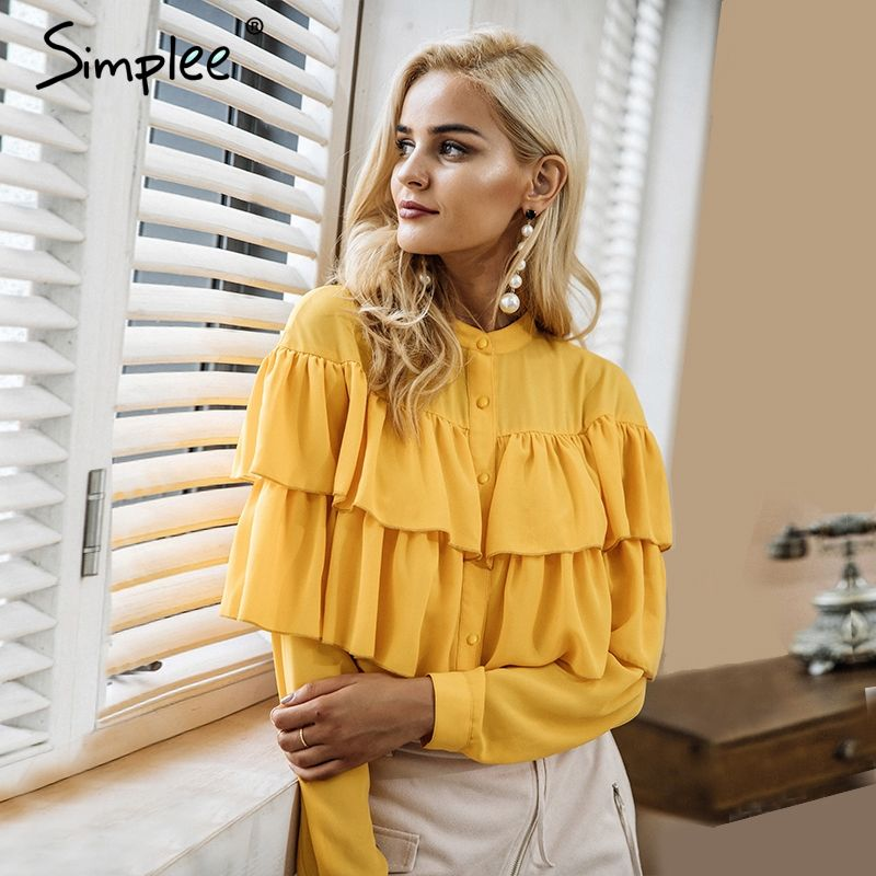 Simplee Élégant ruches blanc blouse shirt femmes tops 2017 manches Longues chemisier frais Casual blusas chemise femme blusas nouveau