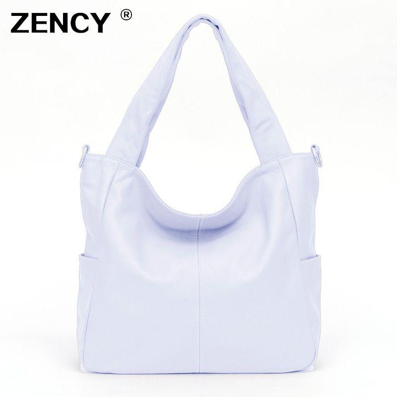 ZENCY grand noir blanc couleur réel en cuir véritable sacs à main argent matériel de luxe femmes dames sacoche épaule Messenger sac