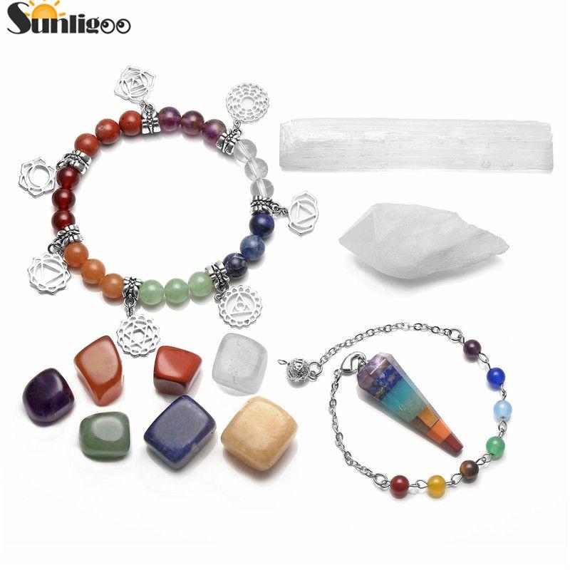 Sunligoo Healing Crystal Kit 7 Tumbled Stones&Selenite Stick&Clear Quartz Cluster Geode&Chakra Pendulum&Chakra Charms Bracelet