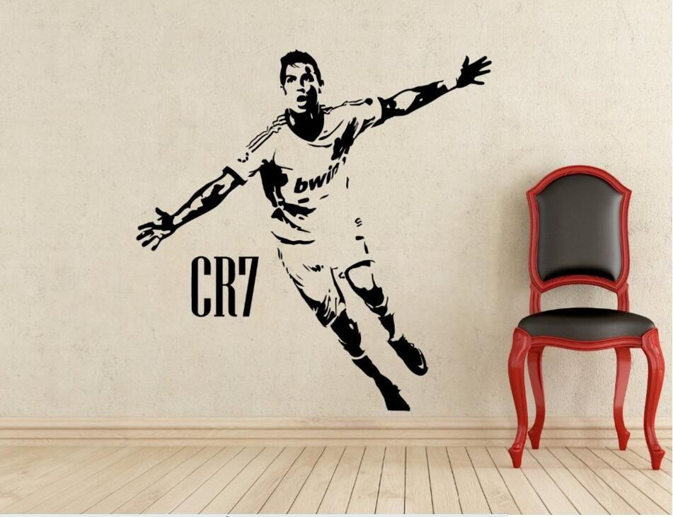 Sport Football enfants chambre décor CR7 célébrant affiches vinyle coupe stickers muraux Cristiano Ronaldo Football autocollant pochoirs