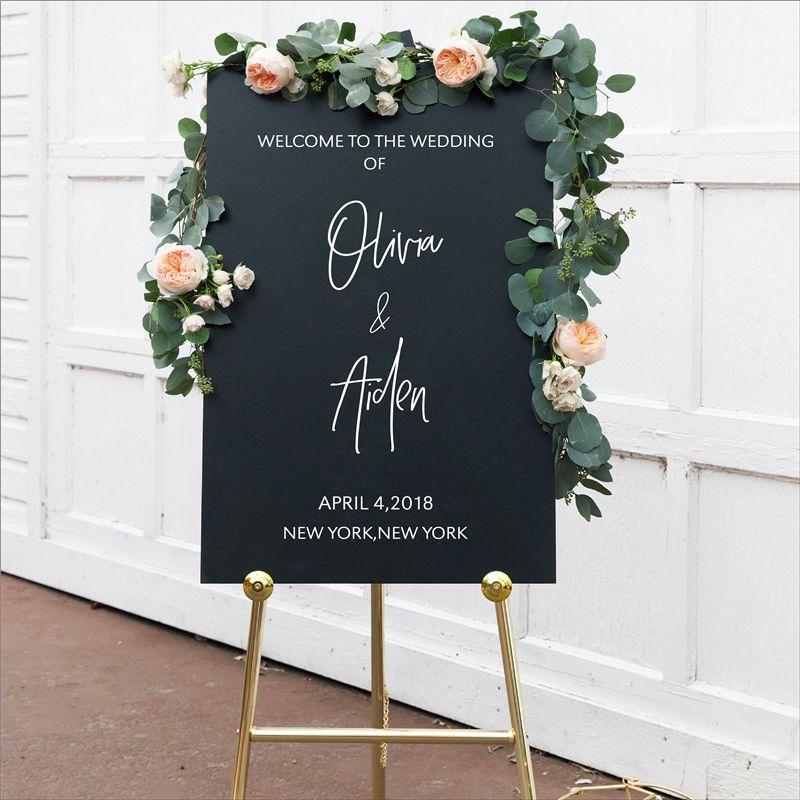 Personnalisé bienvenue signe décalcomanies autocollant décor de mariage, personnalisé vinyle amovible étanche réception de mariage bienvenue signe décalcomanie