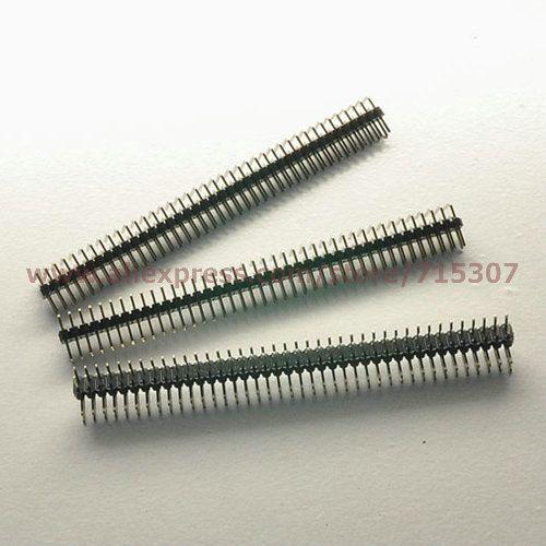 PHISCALE 20 pcs angle Droit 90 degrés double rangée homme pin header 2x40 Pin 2.0mm conseil à conseil connecteurs cuivre pin