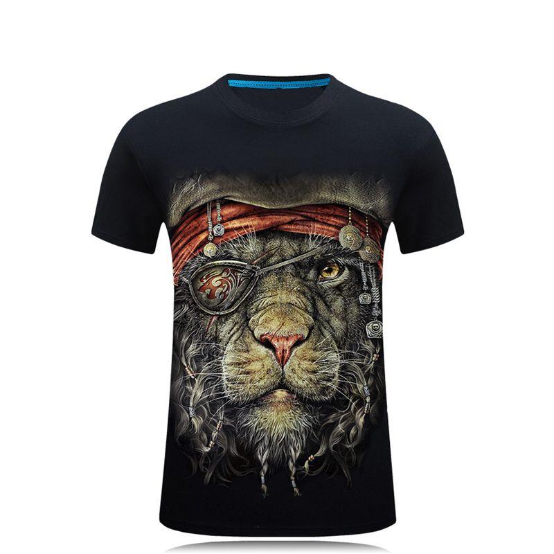 SWENEARO 2018 Hommes de 3D Date Nouveauté Animaux Creative 3d t-Shirt Pirate léopard imprimé à manches courtes O cou Coton Tops et t-shirts