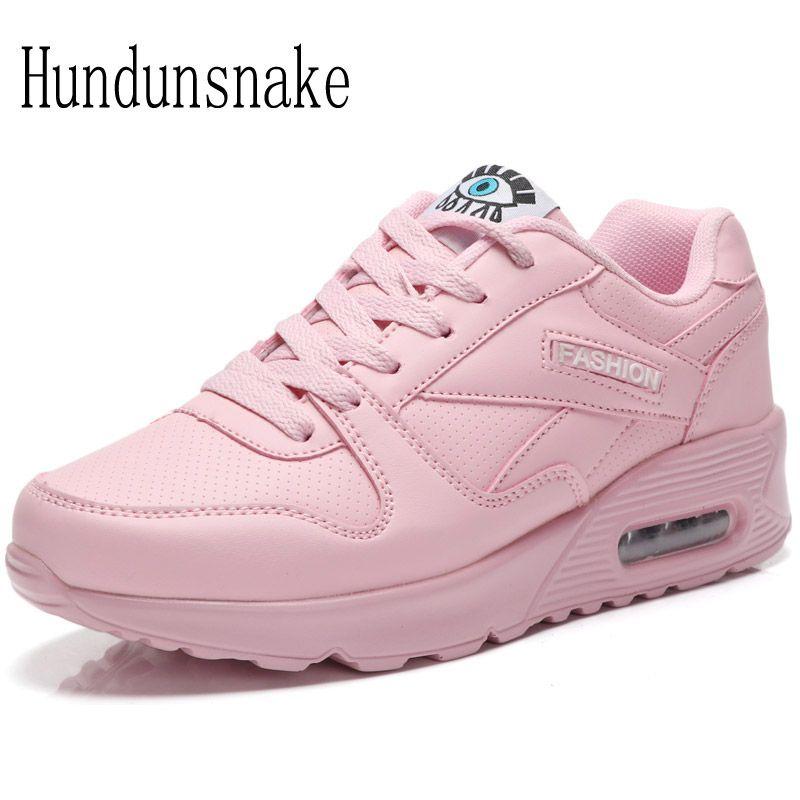 Hundunsnake pink sneakers women's leather running shoe breathable mesh ladies shoes sport female krasovki Cushioning Gumshoe t31