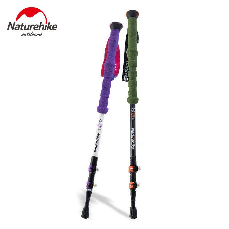 Naturehike Carbon Fiber Hiking Cane Walking Stick Trekking Pole Alpenstock For Ultra-light Adjustable 1PCS 3 Section 2 Color