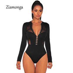 Ziamonga Design De Mode Libres Mesh Patchwork Manches Longues Noir Moulante Combishort Bouton Crochet Unique Design Femmes Sexy Body