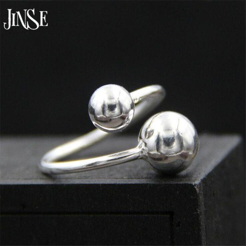 JINSE Mode 925 Bijoux En Argent Sterling Lisse Petit Double Balle Perles Forme Anneaux pour les Femmes Charmes Parti Anneau 1.50mm