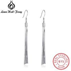 Genuine 925 Sterling Silver Tassel Dangle Earrings Women Metallic Long Earrings Party Fine Jewelry Gift for Friend(Lam Hub Fong)