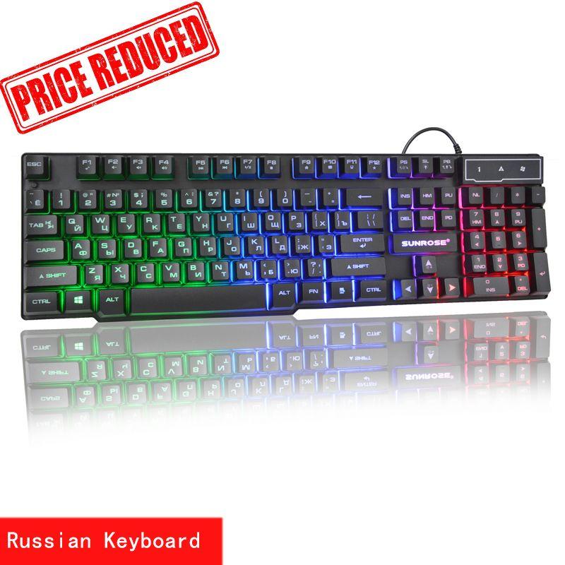 Sunrose Russe/Anglais 3 Couleur Rétro-Éclairage clavier de jeu Teclado Gamer Flottant led Rétro-Éclairé USB Mécanique Similaire Sentir