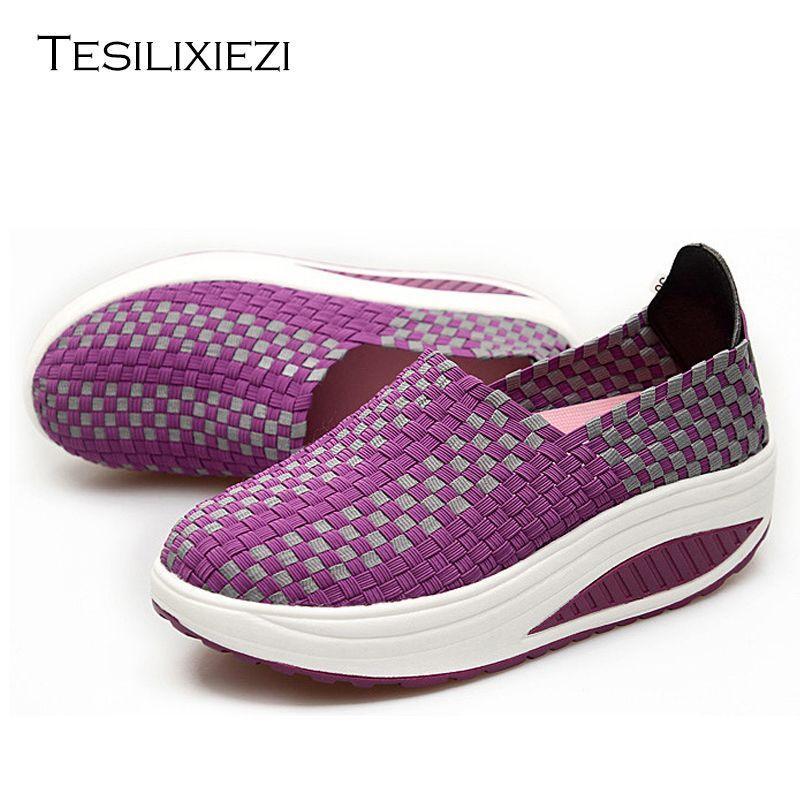 2016 Летние туфли, увеличивающие рост Для женщин Спорт для Для женщин на танкетке Спортивная обувь Обувь Бесплатная доставка