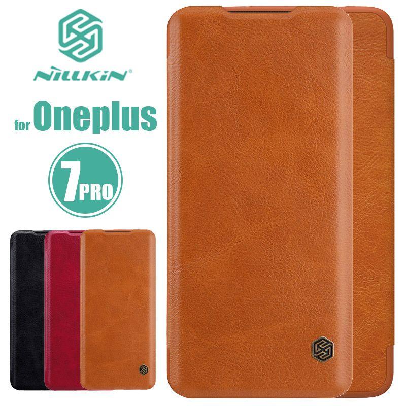 Oneplus 7 Pro étui Nillkin série Qin étui en cuir à rabat One Plus 6 Oneplus de couverture arrière de luxe 7 Pro 6 5 T 5 3 étui pour téléphone d'affaires