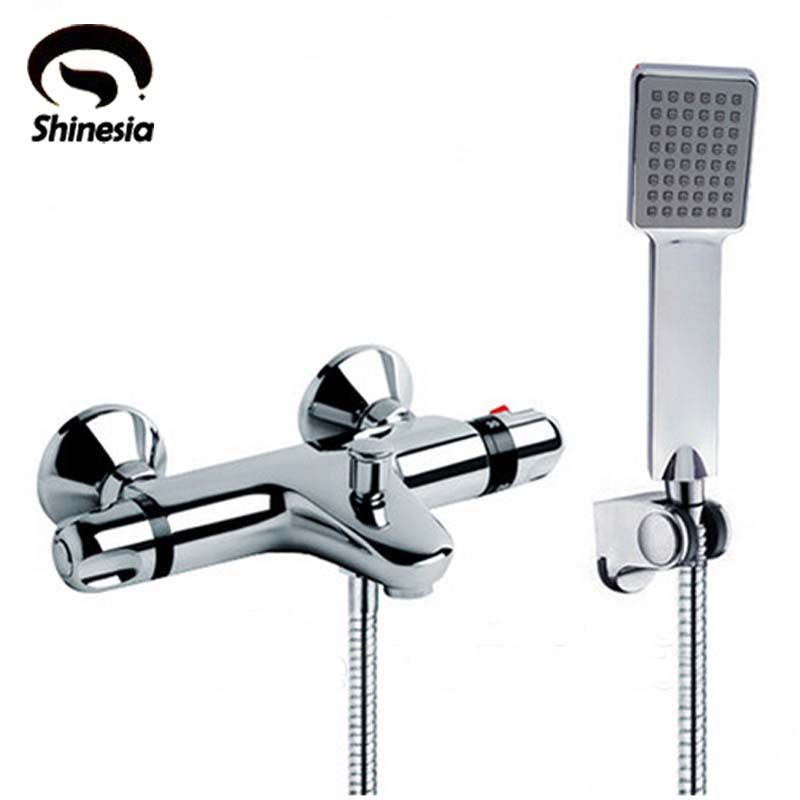 NEW Shower Faucet Set <font><b>Bathroom</b></font> Thermostatic Faucet Chrome Finish Mixer Tap W/ ABS Handheld Shower Wall Mounted