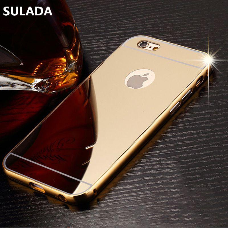 Or de luxe Miroir En Aluminium Cas pour iPhone 7 Plus 6 6 s 5 5S se 5c 4 4S iPod Tactile 5 6 Coque En Métal Cadre PC Retour Cas de Couverture