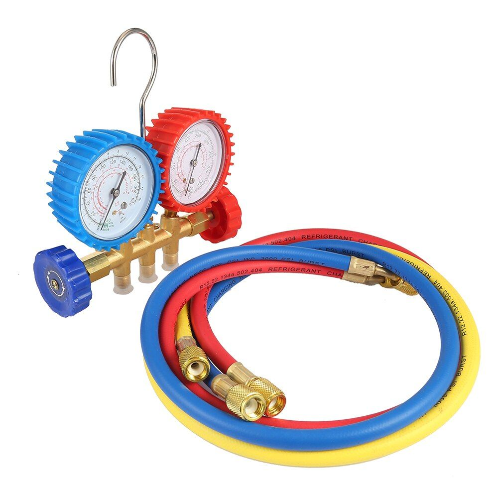 Refrigerant Manifold Gauges Tool Set Tables Colored-Hoses Double Table Valve Three Air Conditionin Car-Styling Refrigerant Test
