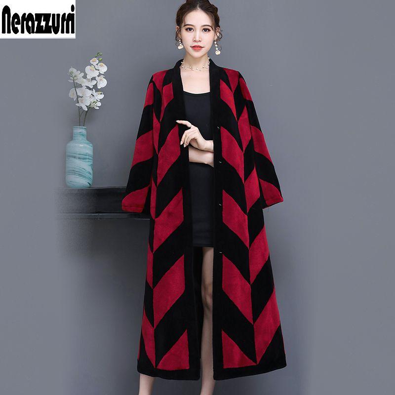Nerazzurri Real sheep fur coat women color block extra long stylish natural shearling lamb fur overcoat plus size 5xl 6xl 7xl