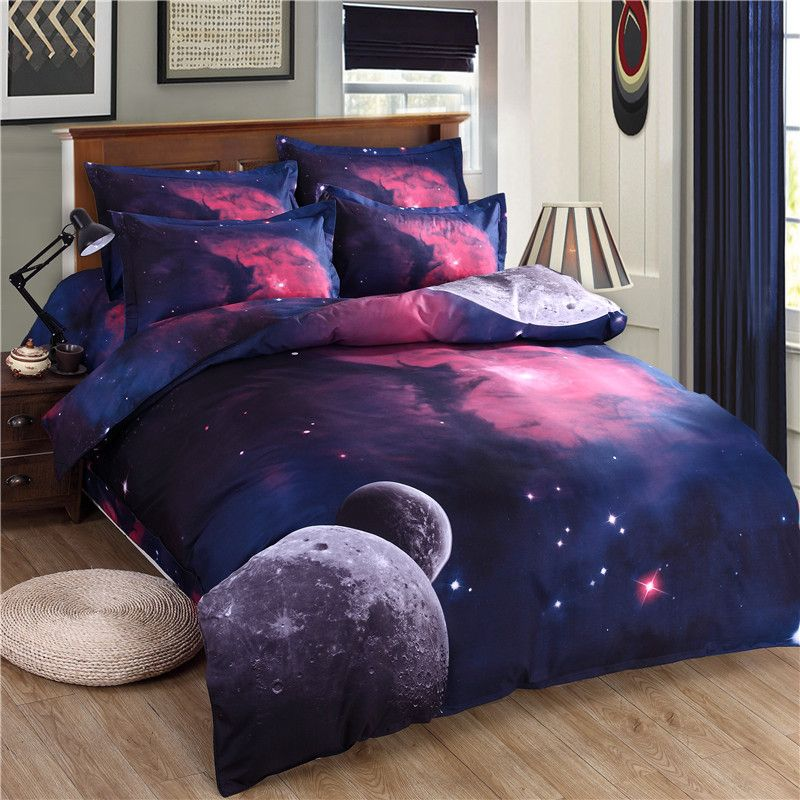 3d Galaxy Bedding Set Duvet Cover Set <font><b>Universe</b></font> Outer Space Themed pillowcase duvet cover flat Sheet 2PCS/3pcs/4pcs queen Twin