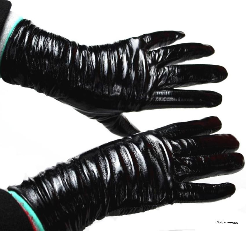 Guantes mujer Tactical Guantes envío libre nueva moda mujer cuero Guantes patente luz botón estilo forro de terciopelo oveja