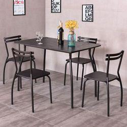 Giantex 5 Kursi Makan Meja dan 4 Kursi Modern Ruangan Dapur Rumah Sarapan Furniture Meja Makan Kayu Set HW54170