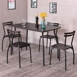 Giantex 5 Piece Set Meja dan 4 Kursi Makan Modern Rumah Ruang Dapur Sarapan Furniture Meja Makan Kayu Set HW54170
