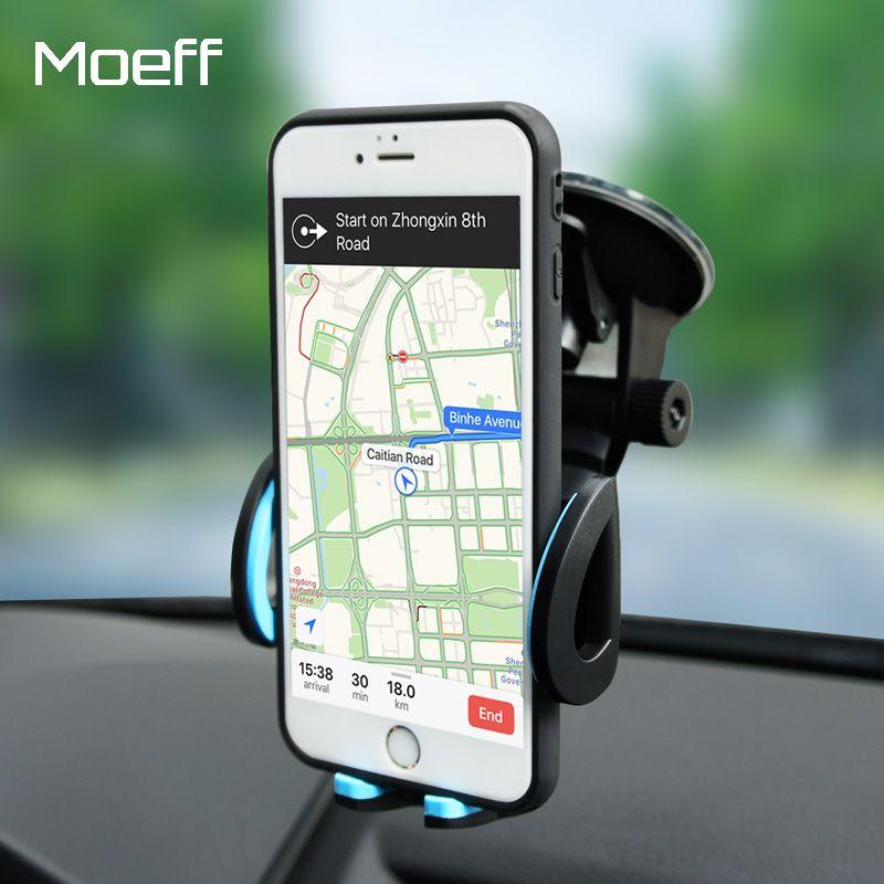 Moeff Universal Mobile Téléphone De Voiture Titulaire Stand Cellulaire Sucker Titulaire 360 degré Réglable pour iphone 5 6 7 plus Samsung Kit De Fixation Voiture