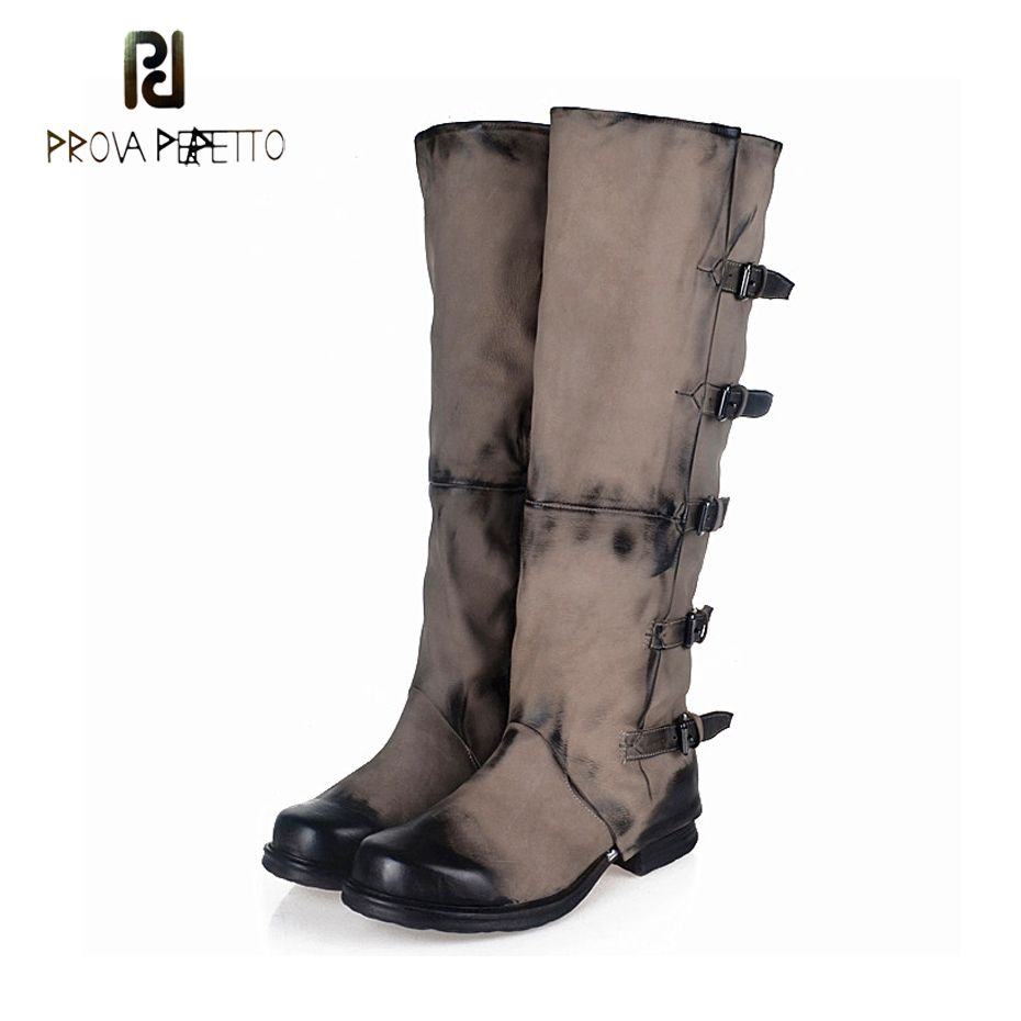 Prova Perfetto Genuine Leather Do Old Women Knee High Boot Square Toe Thick Bottom Motorcycle Boots Belt Buckle Knight Long Boot