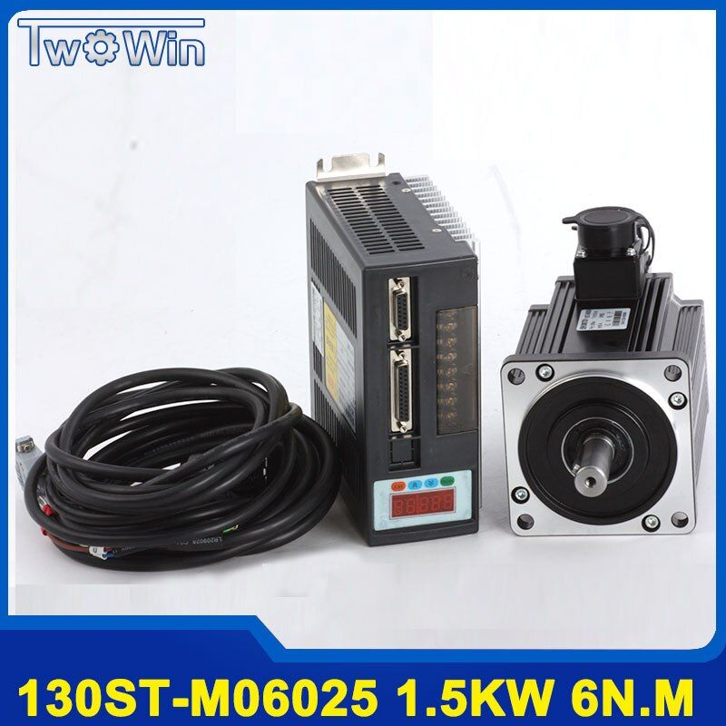 1.5KW 130ST-M06025 AC servo motor 6N.M 1500W + driver with 3 Meter Cable Complete servo system