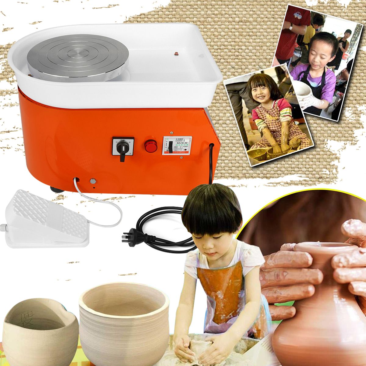 25cm Pottery Wheel Machine Ceramic Work Ceramics Clay Art EU/AU AC220V 250-350W With Mobile Flexible Foot Pedal Smooth Low Noise