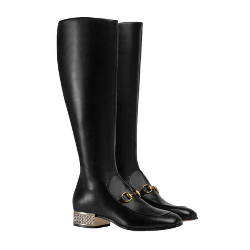 Genuine Leather Women Knee High Boots Winter British Retro Boots Women's Short Barrel High Boots Luxury Shoes