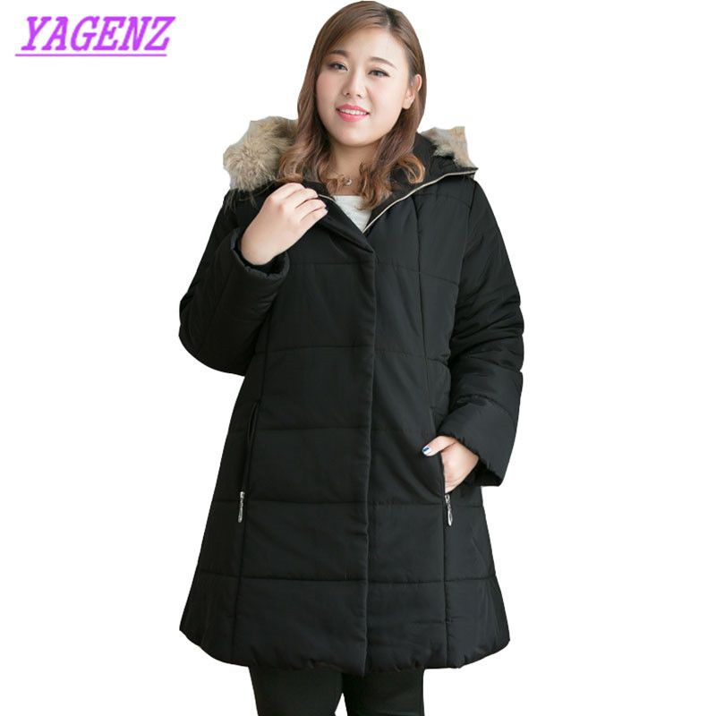 Extra large size Winter Warm Down cotton Jacket Women Slim Long Cotton Outerwear Women Hooded Fur collar Black Overcoat 9XL B448