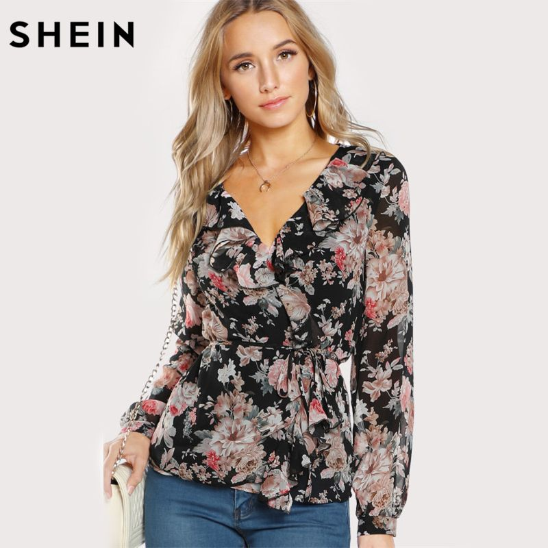 SHEIN V Neck Womens Tops Frilled Neckline Surplice Wrap Top Multicolor Long Sleeve Chiffon Top Floral Belted Blouse